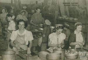 Women sorting fruit in 1954